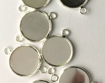 Silver Connector 12mm Inner Tray  Round Cabochon Bezel Tray DIY Jewelry Findings 30pcs