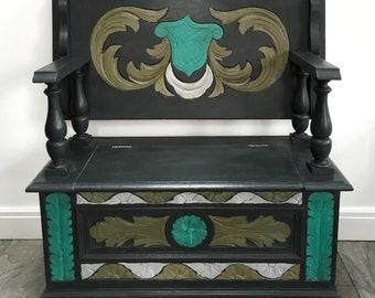A Folk Art Inspired Painted Monks Bench/Blanket Box