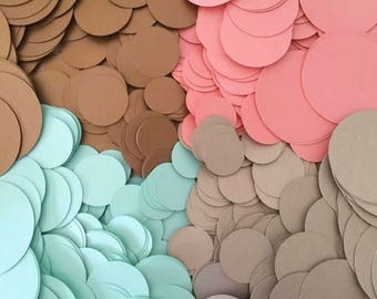 Coral Mint Gold Circle Confetti - Table scatter - Wedding decor - Baby Shower - Bridal Shower