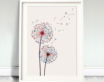Dandelion Flower Nature Watercolor Art Print Wedding Gift Love Kids Print Wall Art Poster Wall Decor Home Wall Hanging (Nº2)