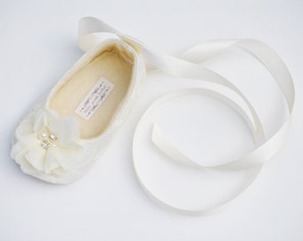 Toddler Girl Shoes Baby Girl Shoes Soft Soled Shoes Lace Wedding Shoes Chiffon Flower Girl Shoes Pink Ivory White Champagne Shoes - Sadie