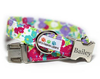 Personalized Floral Dog Collar, Flower Collar, Petal Pusher