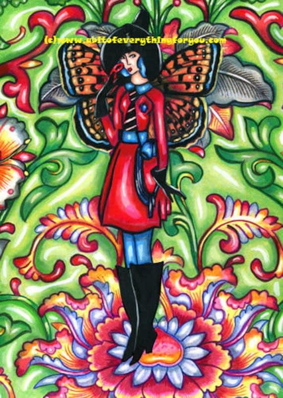 fairy flapper girl witch original art painting fairies masquerade mardi gras deco flowers floral art faerie painting acrylics fantasy art