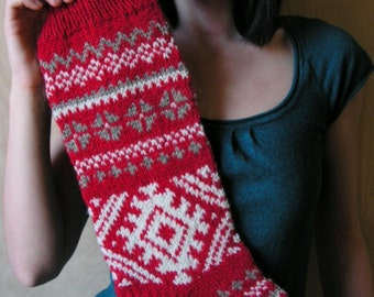 """Knit Christmas Stockings ~22"""" Personalized Hand knit Wool Red Gray White Folksy ornaments Latvian Nordic style Christmas decoration"""