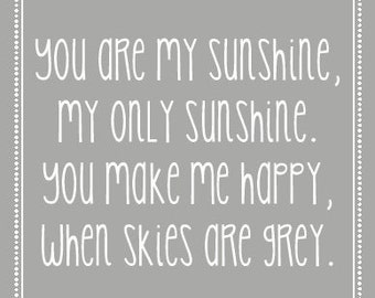 """INSTANT DOWNLOAD You Are My Sunhine 8""""x10"""" Wall Art  - PDF Printable"""