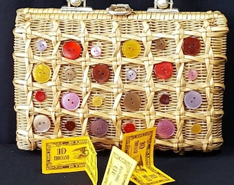 Basket Purse, Box Purse, Vintage Buttons, Novelty Purse, Rattan Handbag, Gift for Her