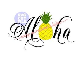 Aloha Pineapple digital cut file for htv-vinyl-decal-cutter-.SVG -.DXF  & JPEG format