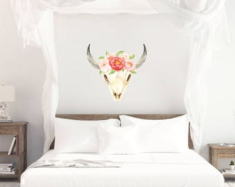 Steer Skull Vinyl Wall Decal, Vinyl Wall Decal, Large Wall Decal, Oversized Wall decal, Tribal Skull decal