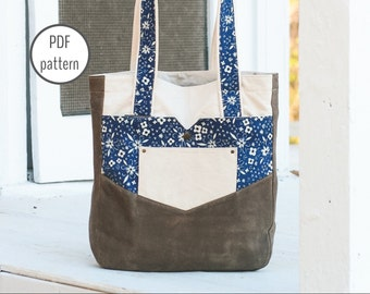 Penfield Pocket Tote | Extra-large Tote Bag Sewing PDF Pattern | Waxed Canvas Bag | Diaper Bag | Teacher Tote Bag | Travel Tote Bag