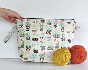 Large Knitting project bag, Cactus Knitting bag, Crochet bag, Cacti zipper pouch, gift for knitter,