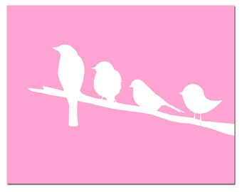 Birds on a Branch - 11x14 Silhouette Print - Perfect for Nursery - CHOOSE YOUR COLORS - Shown in Pink, Yellow, Gray, Blue, and More