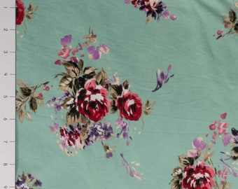 Rose Bouquet on Sage DBP Knit Fabric