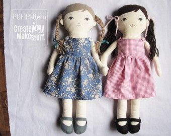 """18"""" Doll Sewing Pattern with dress and felt shoes, Tutorial, PDF cloth dress-up doll pattern, rag doll"""