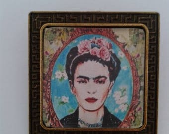 Blue Frida Kahlo Brooch