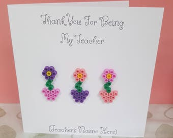 Handmade Personalised Thank You Teacher Card -  Mini Flowers