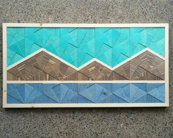 Geometric Mountain Range with Outline Wall Art, Mosaic Wood Wall Art, Wood Home Decor, Turquoise