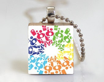 Abstract Art Colorful - Scrabble Tile Pendant - Free Ball Chain Necklace or Key Ring