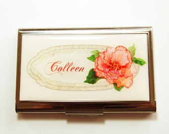 Card case, business card holder, Custom Case, Personalized Business Card Case, Flower, Personalized, Floral case, Flower case (4106)