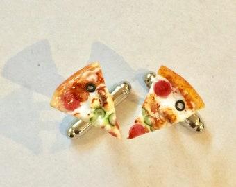 Deluxe Pizza Unisex Cufflinks Cuff Links - food jewelry - Junk food - Pizza - pepperoni - cufflinks - food jewellery - Wedding - Grooms man