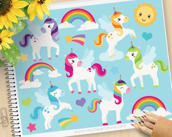 Little Unicorns Clipart, Rainbows, pegasus, rainbows, cute sun, stars, magical, little pony, Commercial Use, Vector clip art, SVG Files
