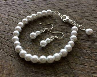 Pearl Child Set, Flower Girl Set, Flower Girl Jewelry, Flower Girl Gift, Flower Girl Bracelet, Flower Girl Earrings on Silver or Gold Chain