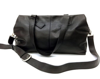 Sale!!! - Black Leather duffle bag Leather Sports Bag Gym Bag Leather Travel Bag Leather Weekender Bag Handmade with love