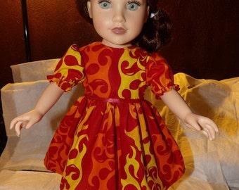 Scortching flamme chaude impression grande tenue pour poupées de 18 pouces - ag251