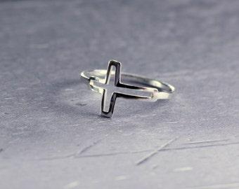 Silver cross ring, sterling silver ring, delicate ring, silver cross, Christian ring, religious ring, sideways cross, midi ring