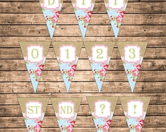 DIY Instant Download Shabby Floral Burlap and Lace Printable Alphabet Letters Numbers Abbreviation Punctuation Marks Banner Bunting Pennant