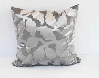 "Designer Pillow COVER, One Chenille Cushion case, Floral Decorative Pillow, Gray Metallic Silver Custom Pillow, Deluxe Cushion Cover 18""x18"""