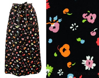 Size 8 Black Floral Skirt - 70s Wrap Maxi Skirt - Cotton Sateen Colorful Print - Blue Pink Red Orange Apple Green - Waist 27 to 28 - 49610