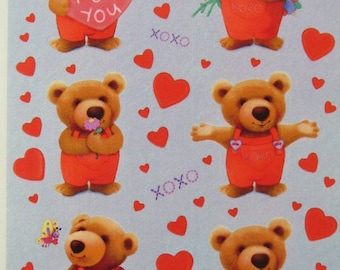 Valentine's Day Stickers, 4 Sheets Teddy Bears and Hearts, Hallmark Greetings, Vintage