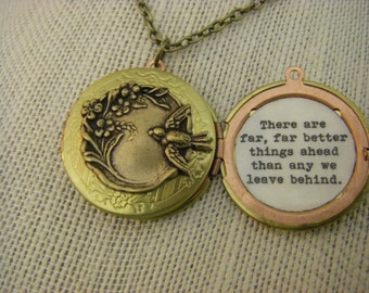 CS Lewis Locket, Necklace. There Are Far Better Things Ahead Than Any We Leave Behind, Graduation, New Beginning, Vintage Locket