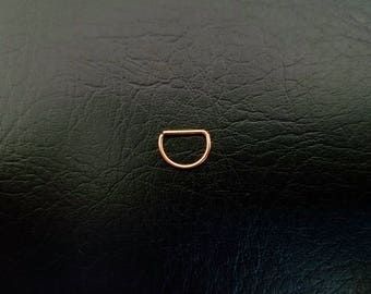 """Rose Gold Titanium IP 20g Seamless 3/8"""" (10mm) small D Ring Hoop septum ring body jewelry ear rook smiley helix 316lvm steel"""