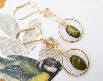 "Gold Hoop Drop Dangle Moss Earrings ""NATURE'S NEST"" Hunter Green Leverback Earrings Birds Nest Strength for the Journey Strength4theJourney"