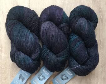 Fleece Artist SALDANHA Lace Yarn +Patterns Shown - SLATE - 23.95 +1.99ea Ship - 872yd 100g - Hand Dyed Superwash Merino Wool. Pure Heaven!