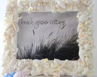 Beach Wedding Gift, Beach Decor Seashell Picture Frame, Beach Wedding Frame, Nautical Decor Shell Frame, Coastal Home Decor,  8x10  #WSF810