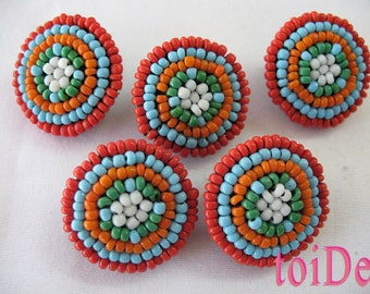 Native American Beaded  Buttons, Tribal Buttons - 5 buttons