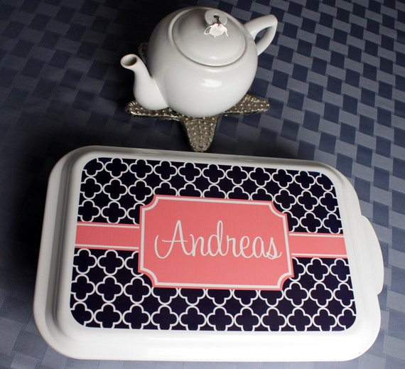 Casserole Dish Gift Ideas Monogrammed Gift Personalized Home Living Kitchen Housewarming Wedding Shower Cake Pan Hostess Navy Clover Pattern