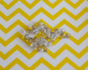 Set of 25 faceted beads, transparent 6 mm