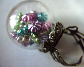 Festive,Glass Dome, globe, RING, Baubles, Festive, miniature, xmas, by NewellsJewels on etsy