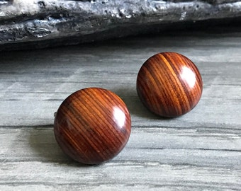 Vintage Wooden Looking Earrings, Clip On Earrings, Clip On Vintage earrings, Wooden Brown Earrings, Gifts For Her, 1970's Jewelry, On sale
