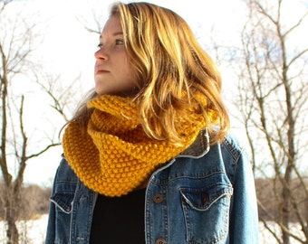 Chunky Gold Hand-Knit Infinity Scarf Wool Blend