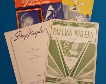 Vintage Sheet Music ~ Lot of 4 ~ In An Old Dutch Garden, Deep Purple, Falling Waters, Yours Quiereme Mucho, 1930's