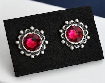 Swarovski Ruby Stud Earrings, July Birthstone Earrings, Hypoallergenic Stainless Steel Post Earrings
