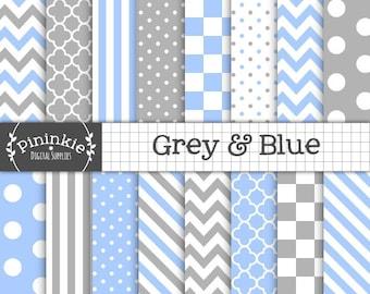 Papier numérique bleu et gris, Chevrons, pois, rayures, Instant Télécharger, tout usage Commercial, livre numérique papier Scrapbooking, bleu et gris