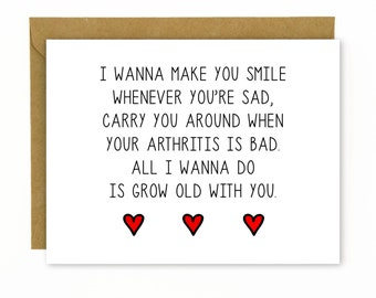 Cute Anniversary Card for Boyfriend, Husband, Girlfriend, Wife / Sweet Card / Love Card / Birthday Card / Wedding Singer - Grow Old With You