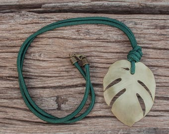 Monstera necklace, monstera jewelry, cotton cord necklace, brass monstera, organic jewelry, long leaf necklace, gift for her