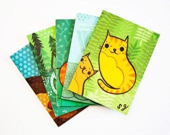 CAT CARD SET, cat greeting cards, cat cards, cat notecards, blank notecard set, cat illustration notecards, cat art cards, greeting card set