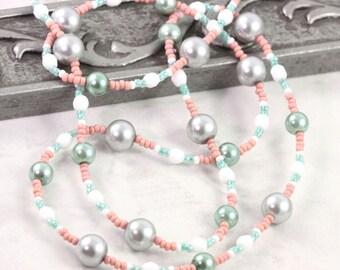 Pink Eyeglass Holder Green Eyeglass Leash Office Fashion Beaded Lanyard Coral Eyeglass Chain White Gray Pearl Lanyard Mint Sunglass Holder